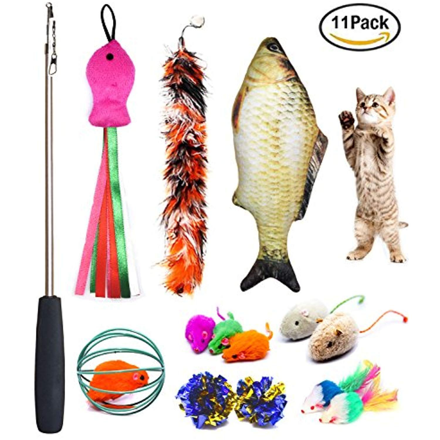 Cat Toys Set Cat Retractable Teaser Wand Catnip Fish Interactive Cat Feather Toy Mylar Crincle Balls Two Cotton Mice Two F Diy Cat Toys Pet Toys Cat Toys