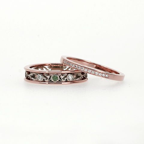 Filigree ring, white and rose gold, green and bright diamonds