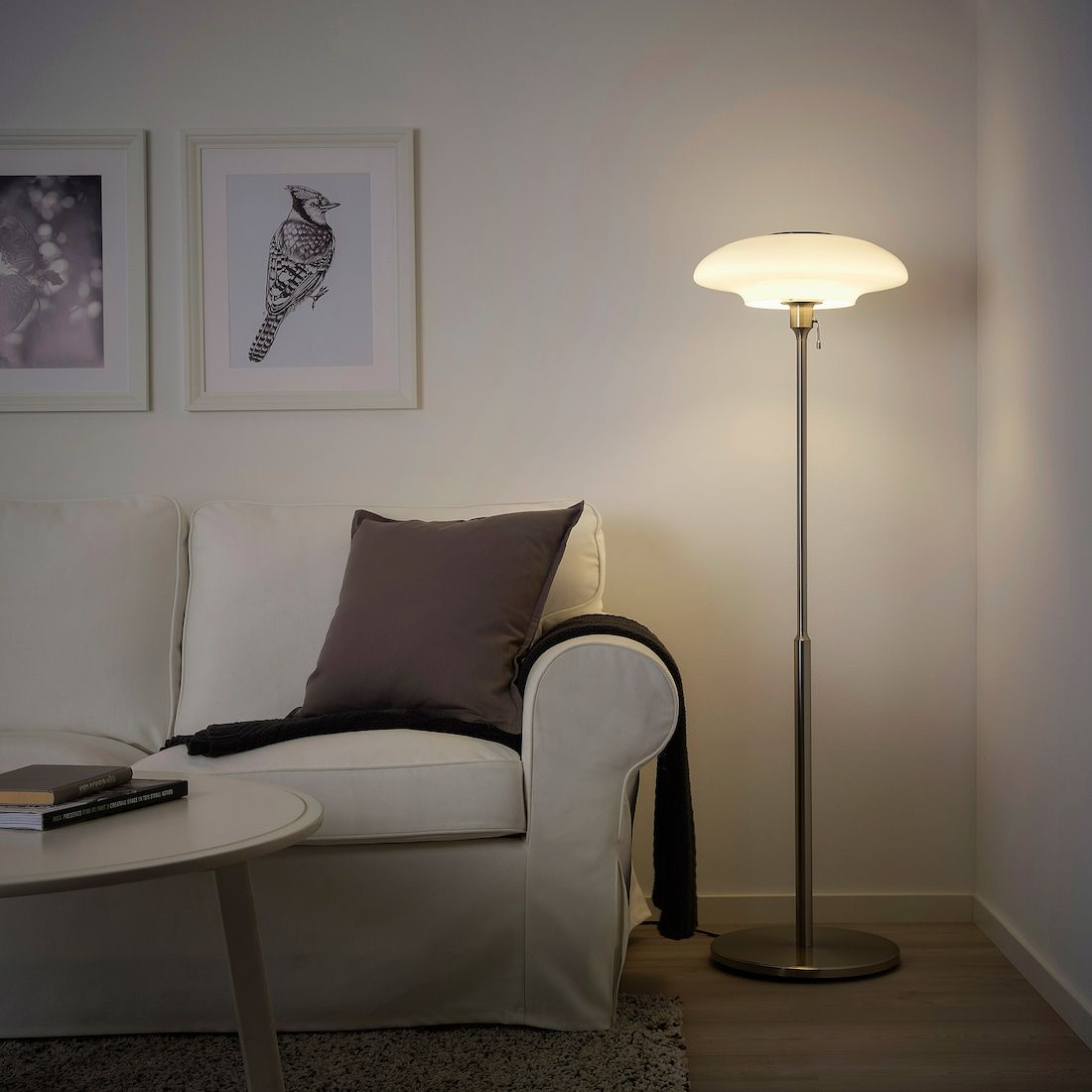 Tallbyn Floor Lamp With Led Bulb Nickel Plated Opal Glass 53