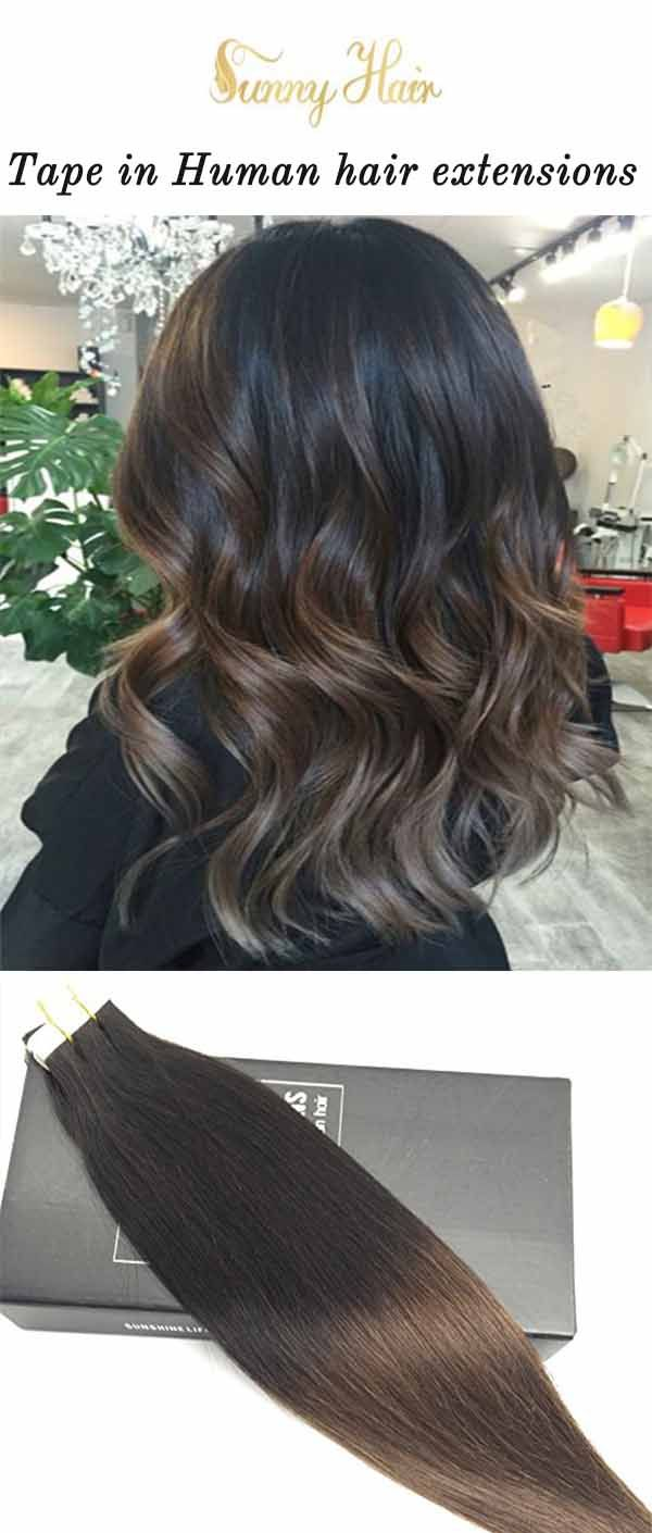 Sunny Hair Tape In Human Hair Extensions Balayage Ombre Brown Mixed