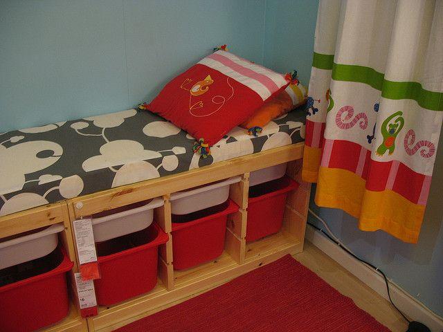 ikea trofast shelves made into bench