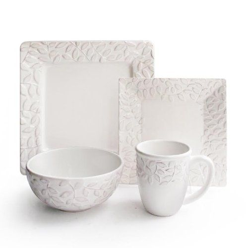 Waverly  Be Leaf Me  16-Piece Dinnerware Set White Waverly   sc 1 st  Pinterest : home etc dinnerware - pezcame.com