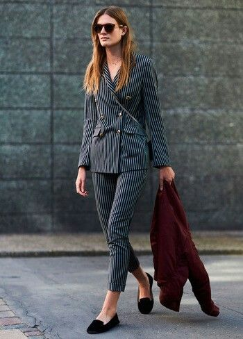 Stripped suit + slippers at Copenhague Fashion Week