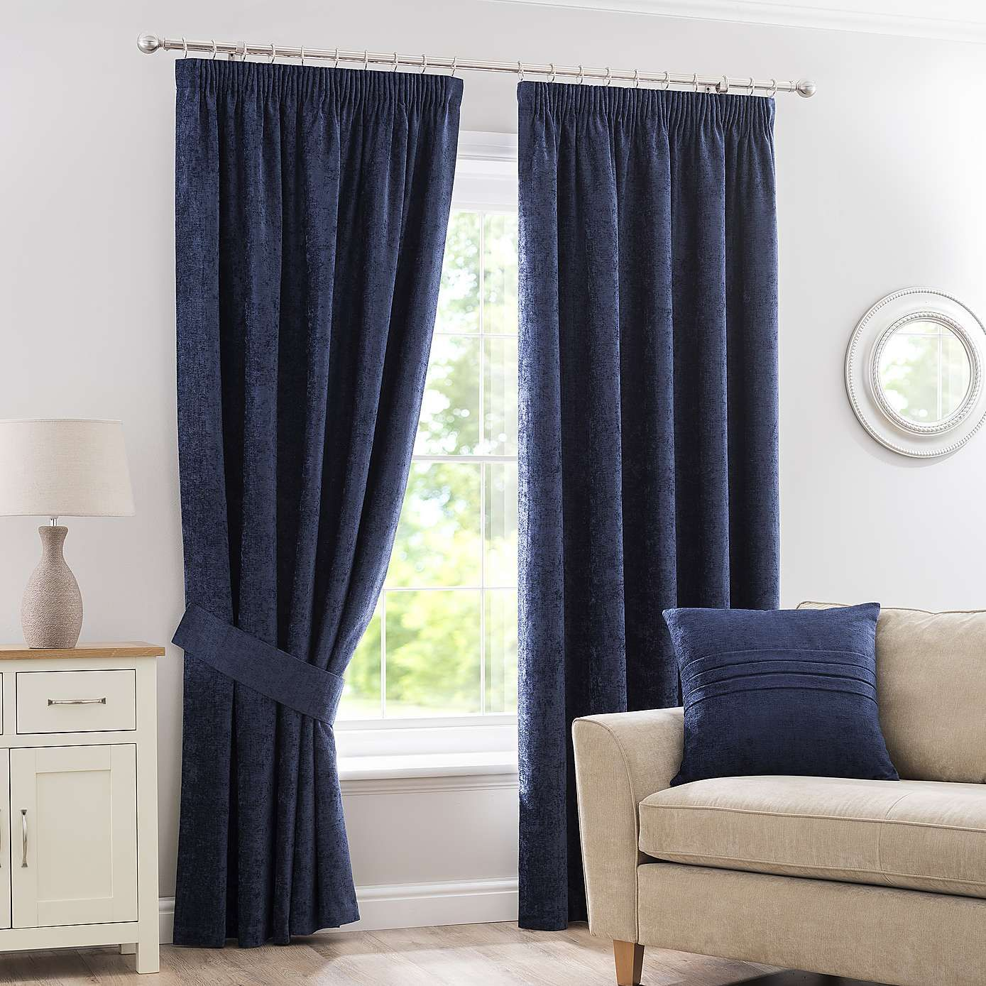 Chenille Navy Pencil Pleat Curtains In 2019