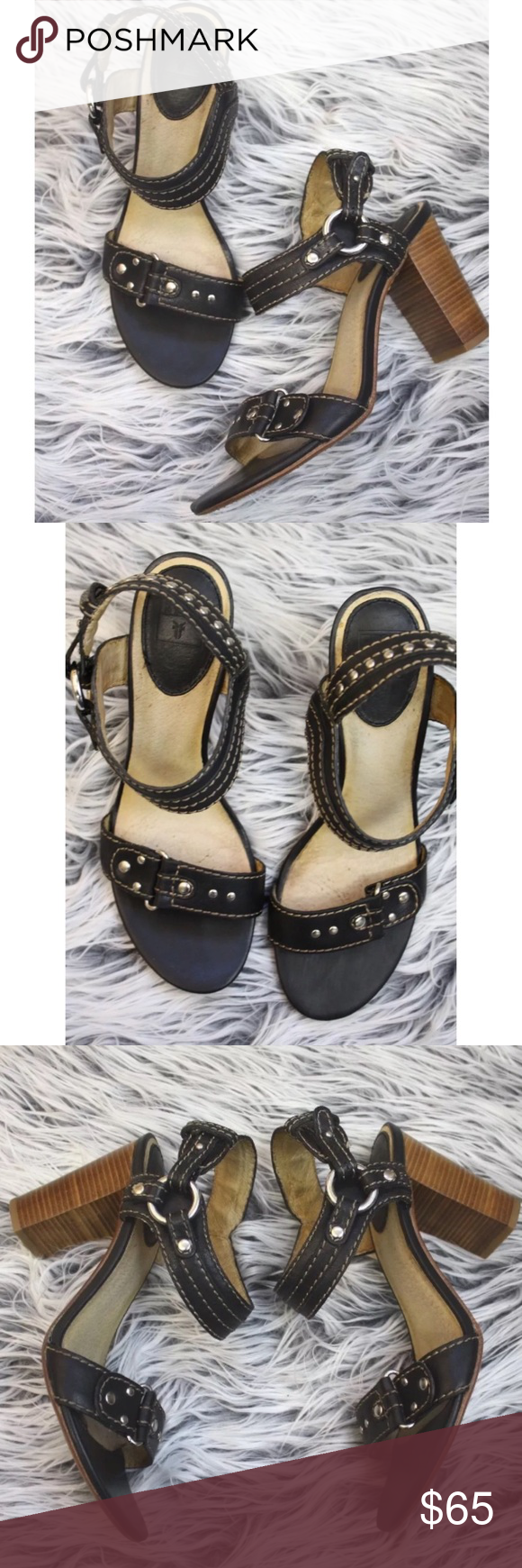 """FRYE April Studded Rings Heeled Sandal $280  FRYE April Studded Rings Sandal  Sz 8.5 M  Black   Stacked wooden heel supports a rich leather city sandal distinctively styled with metal studs. Adjustable strap with prong closure. Approx. heel height: 3 1/2"""". Leather upper, lining and sole. By Frye; imported.  Minor wear on sole.  There is some very small hairline cracking on footbed.  Please see photos. Frye Shoes Heels"""