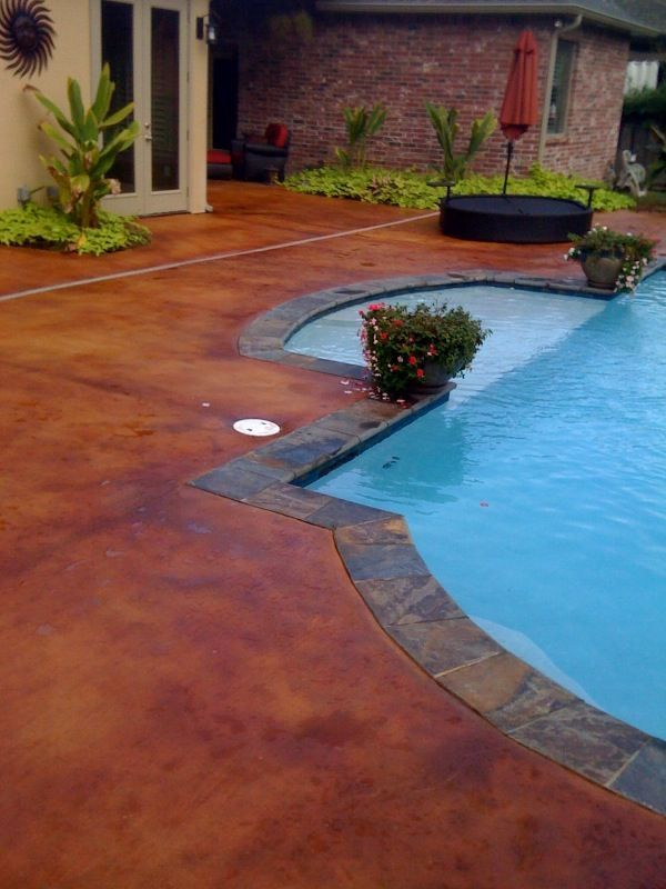 Stained concrete pool deck pool paradise pinterest for Concrete patio paint colors ideas
