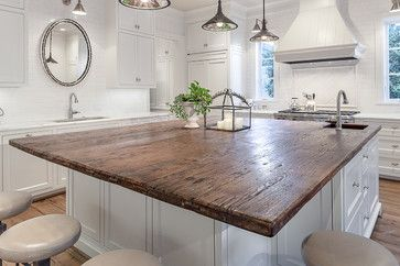 Reclaimed barn wood project one traditional kitchen for Kitchen island houston