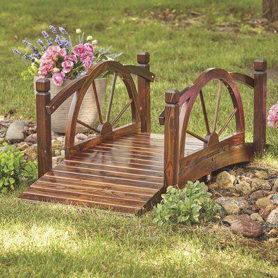 Wagon Wheel Wood Garden Bridge — 5ft -   18 diy Wood garden ideas