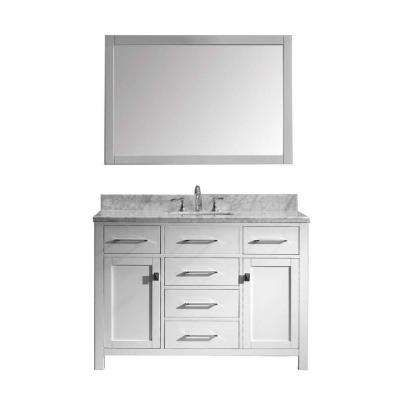 Caroline 48 in. W x 36 in. H Vanity with Marble Vanity Top in Carrara White with White Square Basin and Mirror