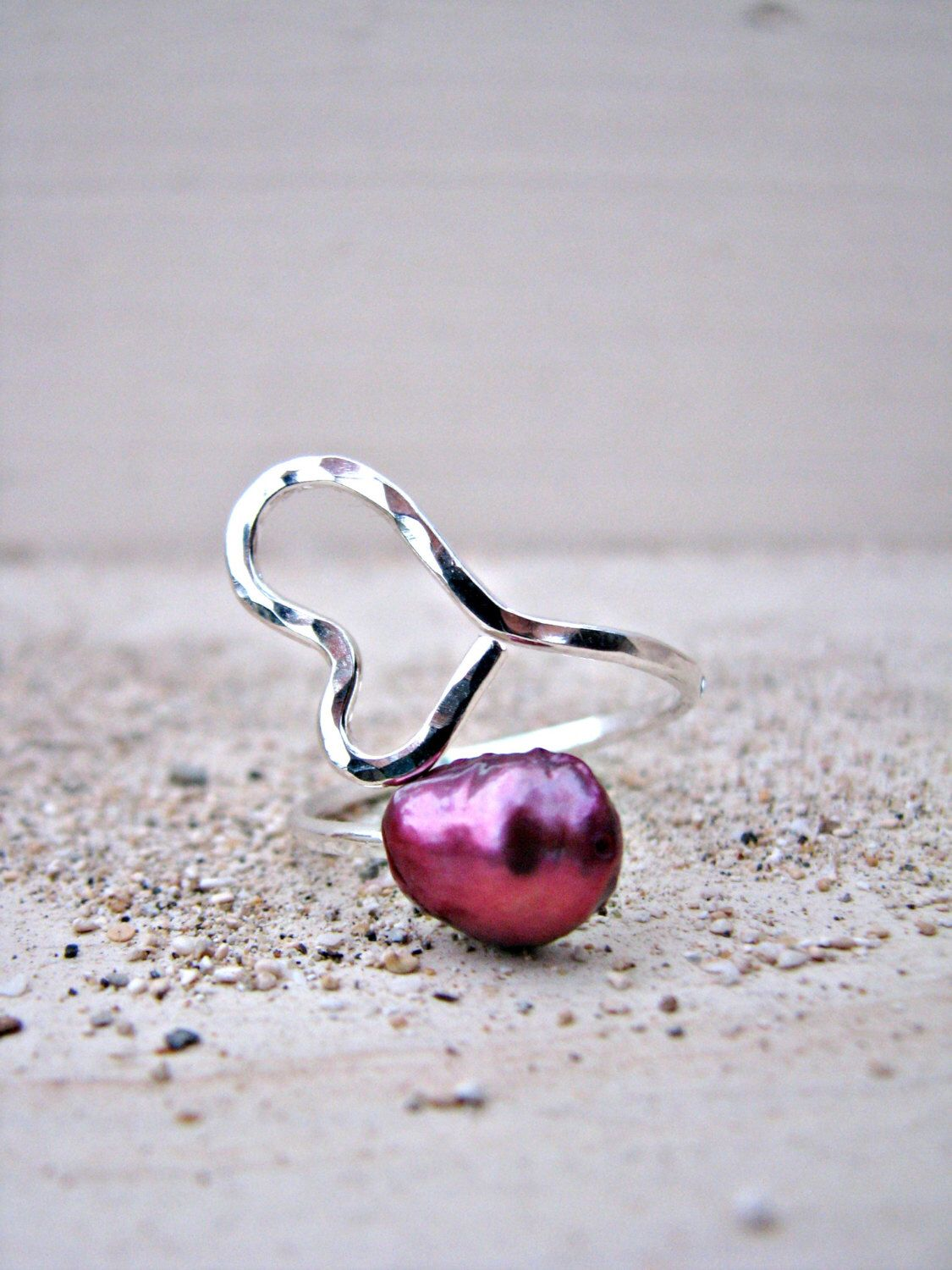 Silver Heart Ring, Heart Pearl Ring, Pink Pearl Silver Ring, Hammered Silver Ring, Adjustable Ring, Wire-Wrapped Ring, Magenta, Fuschia by PukoaPacificPearls on Etsy https://www.etsy.com/listing/207806323/silver-heart-ring-heart-pearl-ring-pink