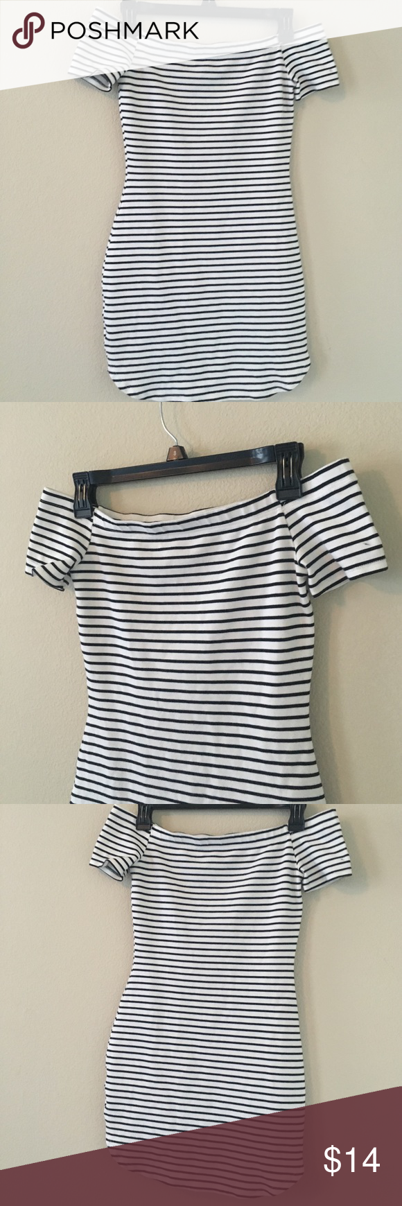 Stripe Me Down Off-the-Shoulder Mini Dress Feeling lazy, but your friend is begging you to go out with her? Throw this cute mini dress on with some converse and your fav pair of stunner shades and you're ready to go! Necessary Clothing Dresses Mini