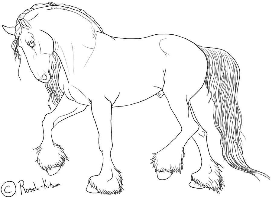 Draft Stallion Lineart By Https Rosela Kitsuna Deviantart Com On Deviantart Horse Sketch Horse Head Drawing Horse Drawings