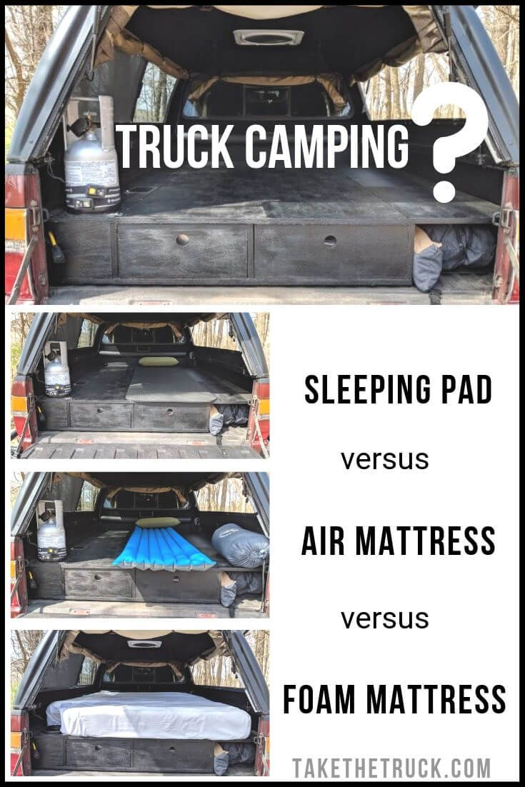 How to Decide Which Truck Bed Mattress is Right for You is part of Truck bed mattress, Camping mattress, Truck bed camping, Truck camping, Truck bed, Truck bed camper - If you're truck camping and need help choosing the best truck bed mattress for your setup  Start here! We'll walk you through pros and cons of sleeping pads, air mattresses, and memory foam mattresses, as well as recommend some of the best in each category to help you sleep well while truck shell ca