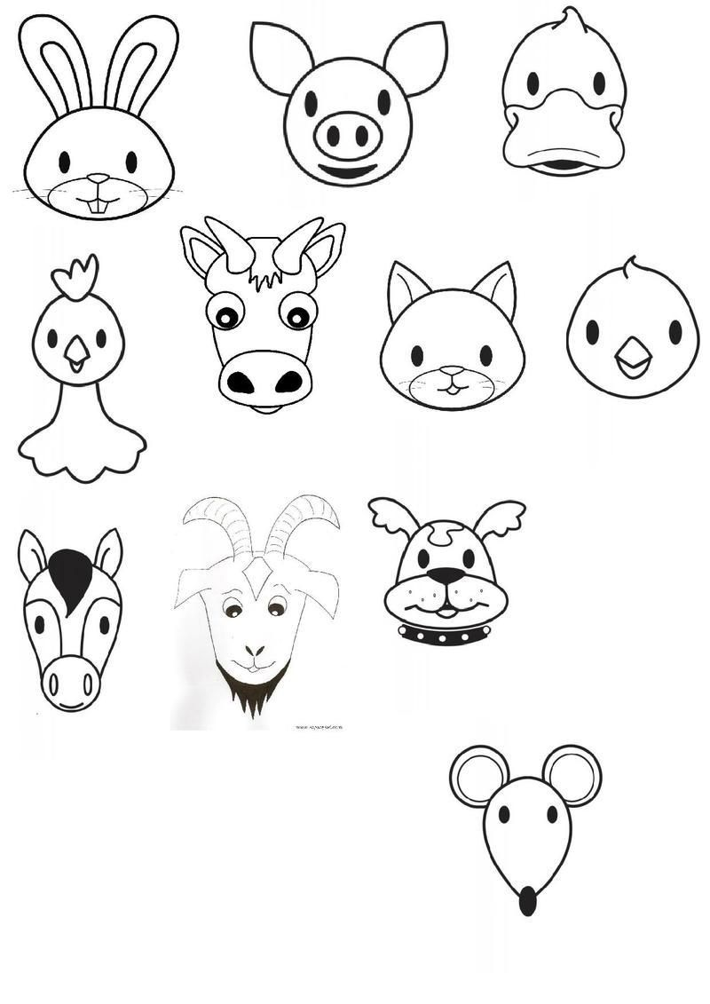 Tete animaux de la ferme la ferme pinterest animaux - Coloriages animaux de la ferme ...