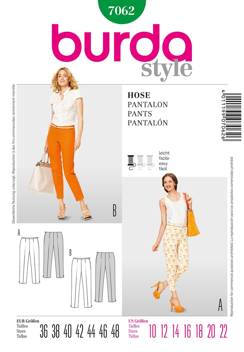 Burda 7062 misses pants patterns sewing patterns and sewing ideas current pattern slender basic pants in 2 lengths with side zip waist facings and womens sewing patternsburda jeuxipadfo Choice Image