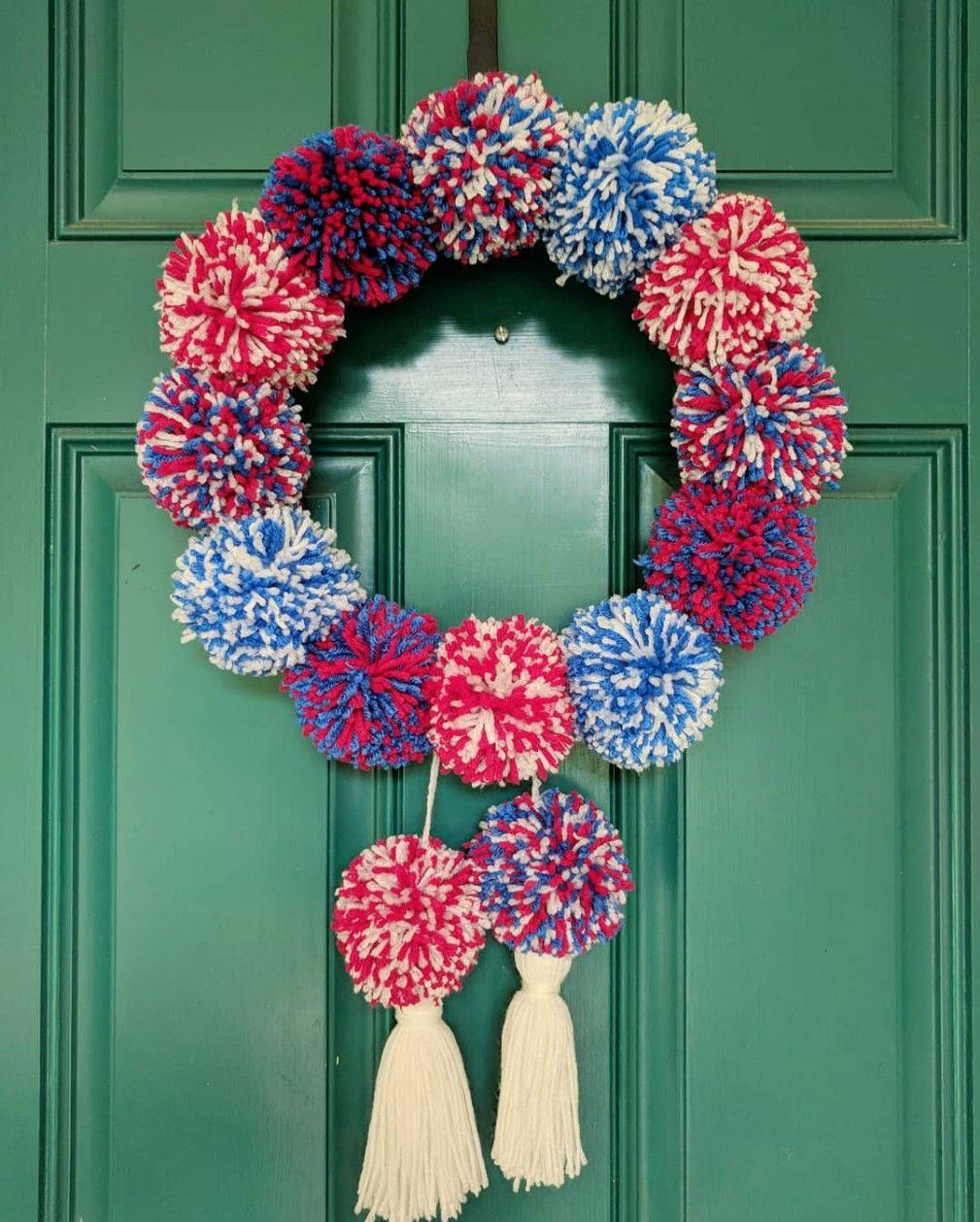 4th of July Wreath Patriotic Pompom Wreath Pompom Wreath Patriotic Wreath Red White and Blue Pompom Wreath Americana Wreath