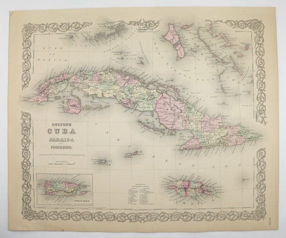 Vintage Map Of Cuba Jamaica Map Puerto Rico Colton Map - Vintage map of cuba