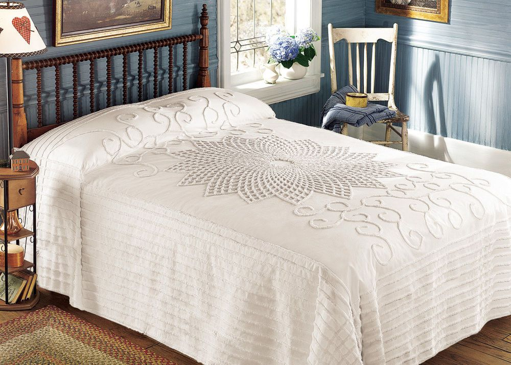 Old Fashioned Cotton Bedspreads.Old Fashioned Country Style Cotton Cream Bedspread Bedding