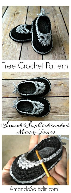 Free Crochet Pattern - Mary Jane Baby Booties   anleitung kaufen ...