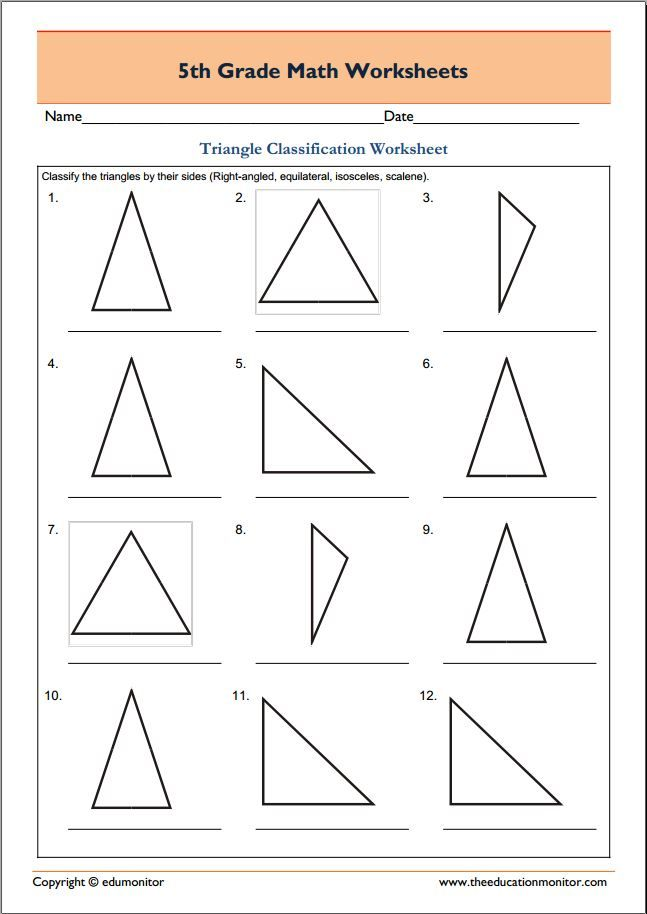 Free 5th grade geometry math worksheets Triangle classification – Fifth Grade Math Worksheets
