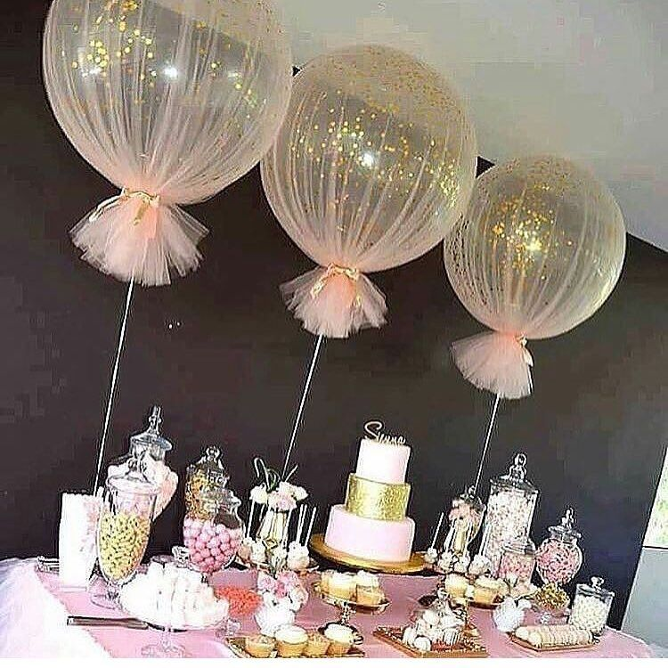 Tulle covered balloons for special celebration decor