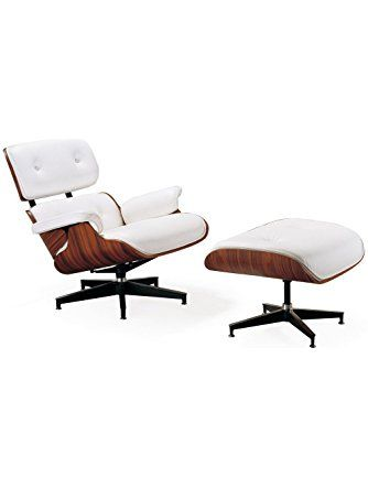 Mid Century Modern Classic Rosewood Plywood Lounge Chair & Ottoman With White Premium High Grade PU Leather Eames Style Replica ❤ LazyBuddy