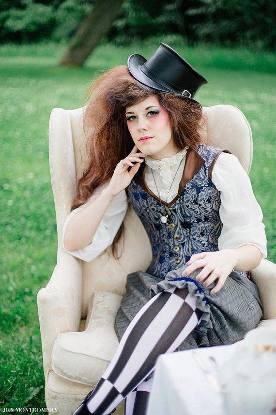 ʂŧɘąɱ ~ Steampunk & Victoriana ~ Mad Hatter Steampunk Corset Vest - Overbust Boned - Fairytale Alice in Wonderland