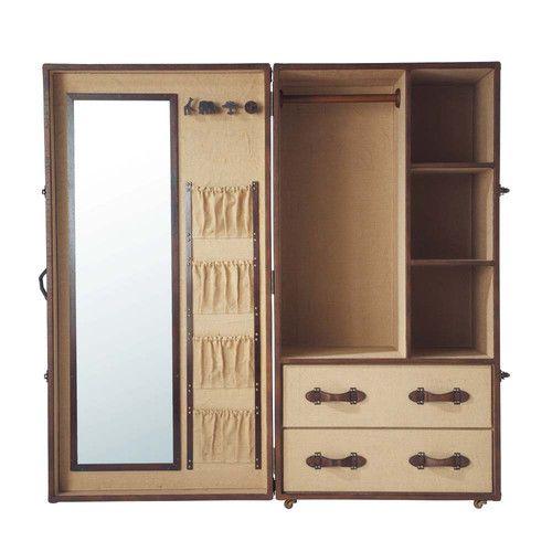 Wood And Jute Cloth Child S Closet W 80cm Phileas Fogg Wooden Wardrobe Single Wardrobe Wardrobe Door Designs