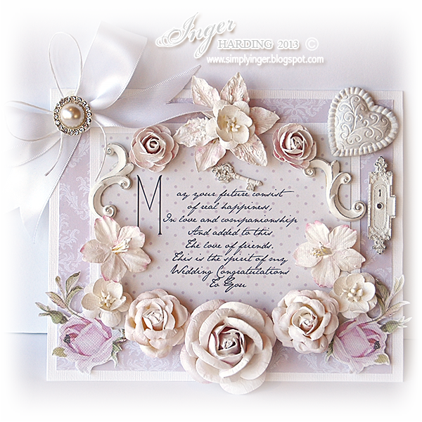 Shabby Chic Wedding Card made by Inger Harding