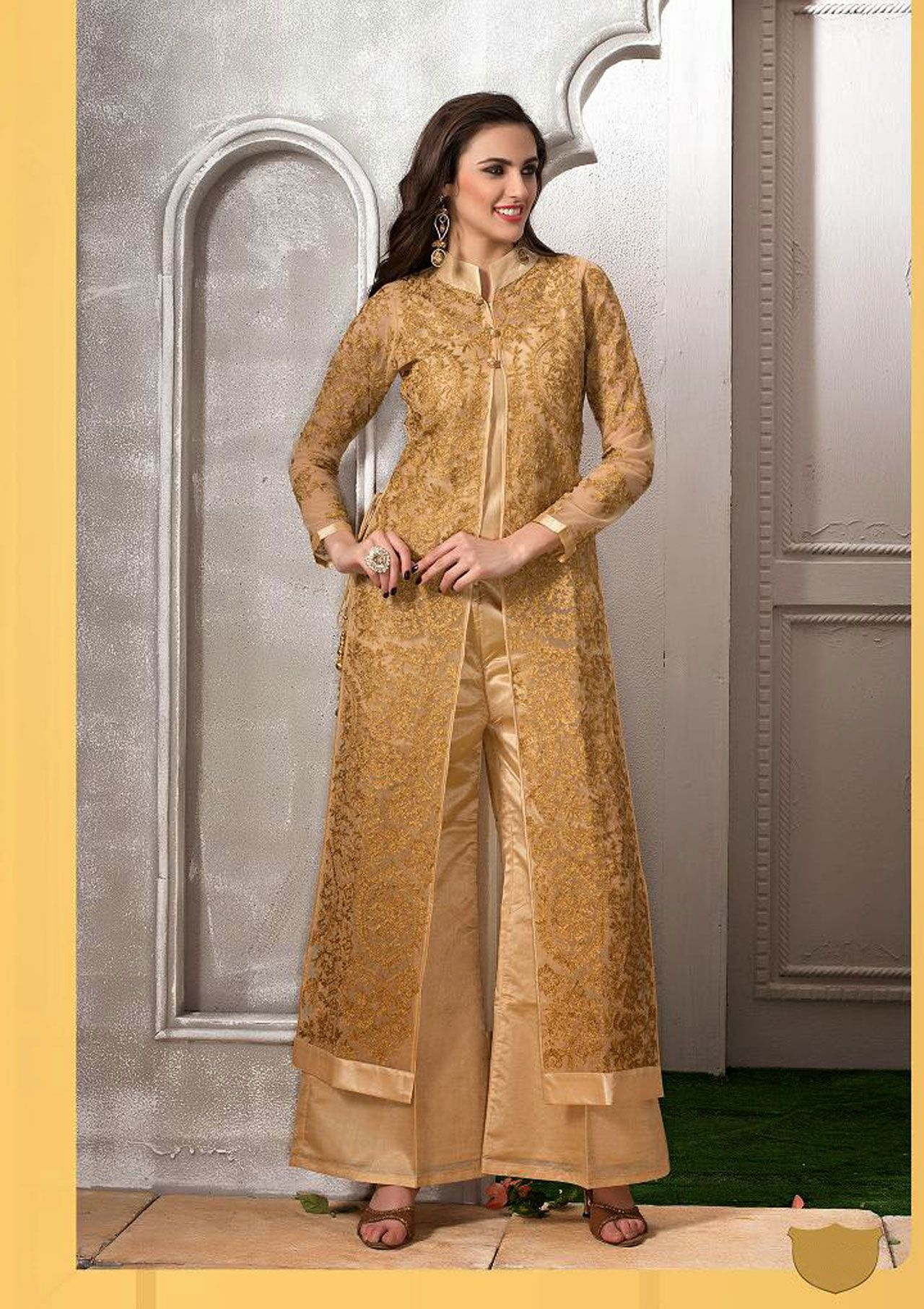 Designer salwar kameez mesmeric peach color net designer suit - Usd 282 09 Golden Net Designer Sharara Salwar Kameez 43101