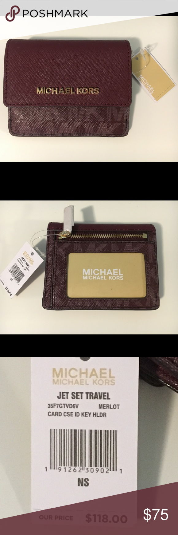 f71b02822 Michael Kors Wallet Michael Kors MK Merlot Red Card Case/ID Key Holder  MICHAEL Michael Kors Accessories Key & Card Holders