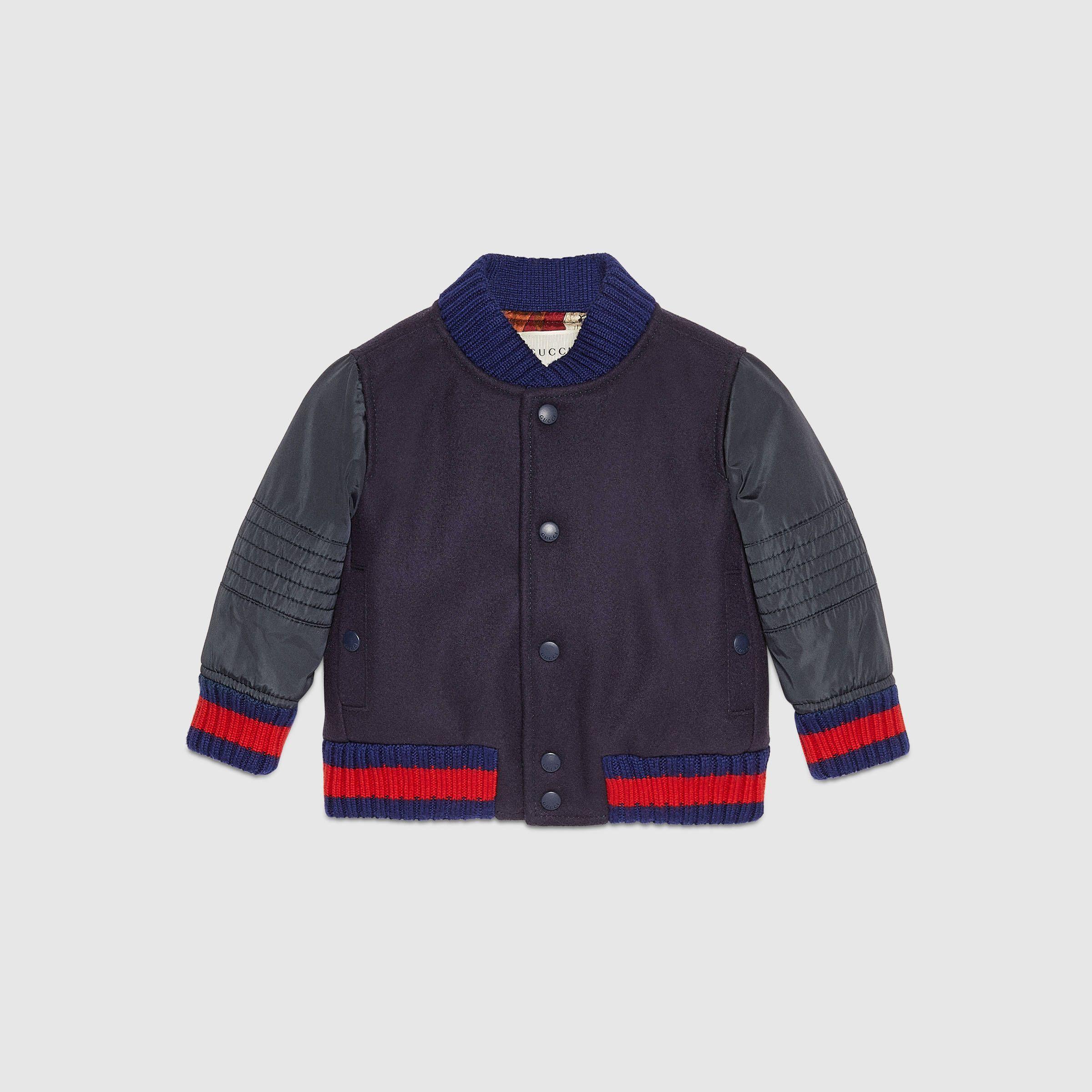 972021bd26be Baby wool and nylon bomber jacket - Gucci Boy s Jackets   Blazer  430265XB0134058