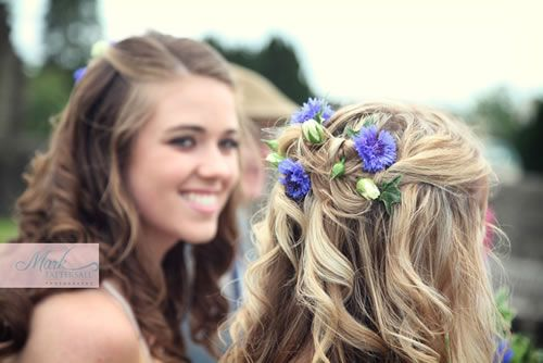 With flowers in her hair | Bridesmaid hair, Weddings and Wedding