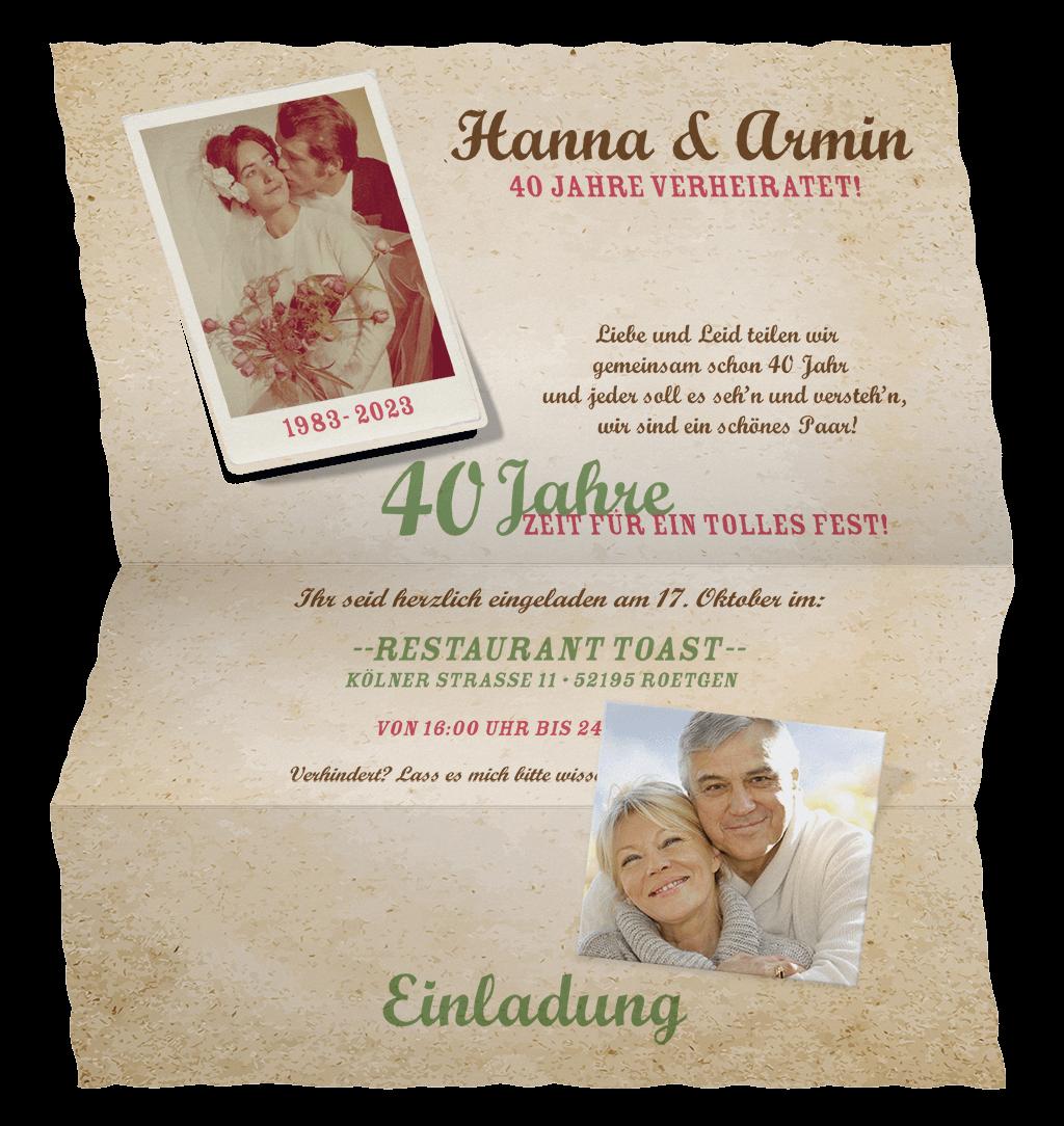 Foto Einladungskarte In Briefform Fur Ehe Jubilaum Oder Geburtstag Einladung Goldene Hochzeit Karte Hochzeit Einladungen