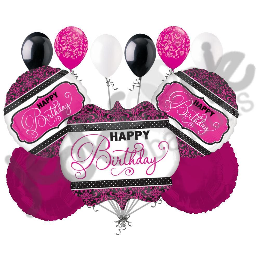Pink, Black & White Damask & Dots Happy Birthday Balloon