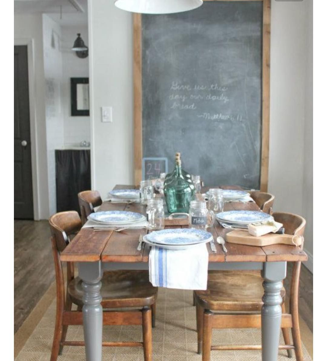 Farmhouse Dining / Rustic Table, Chalkboard Wall, Pendant Lamp, And Vintage  Details