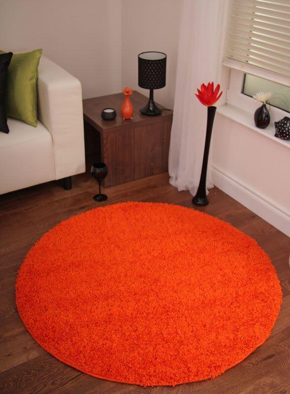 Large Round Thick Pile Rugs Orange Tangerine Circle New Rug Stockholm