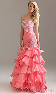 Buy Long Layered Ruffle Night Moves Dress at PromGirl