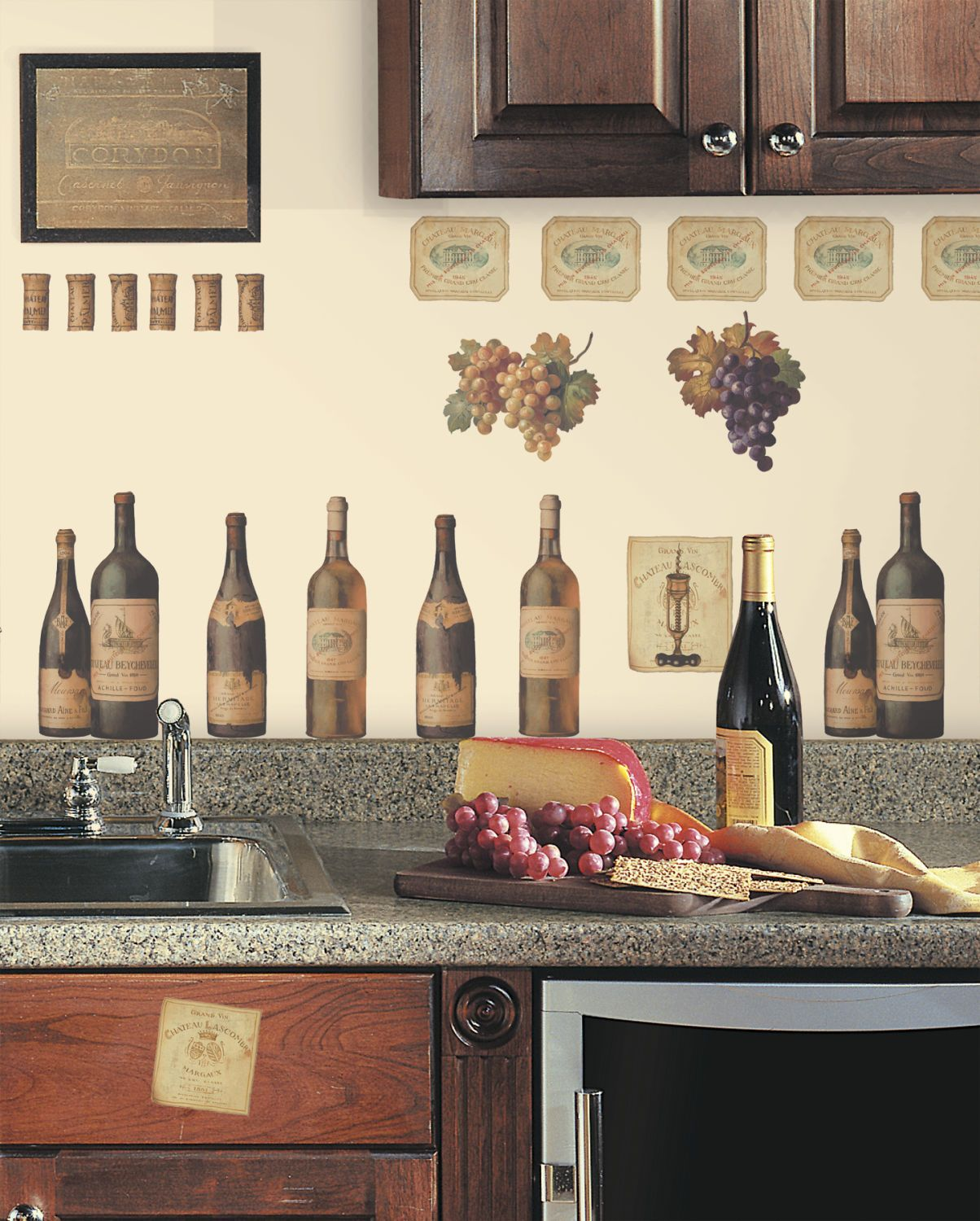Wine tasting wall decals grapes bottles new stickers kitchen decor decorations 13 99 kitchen themes