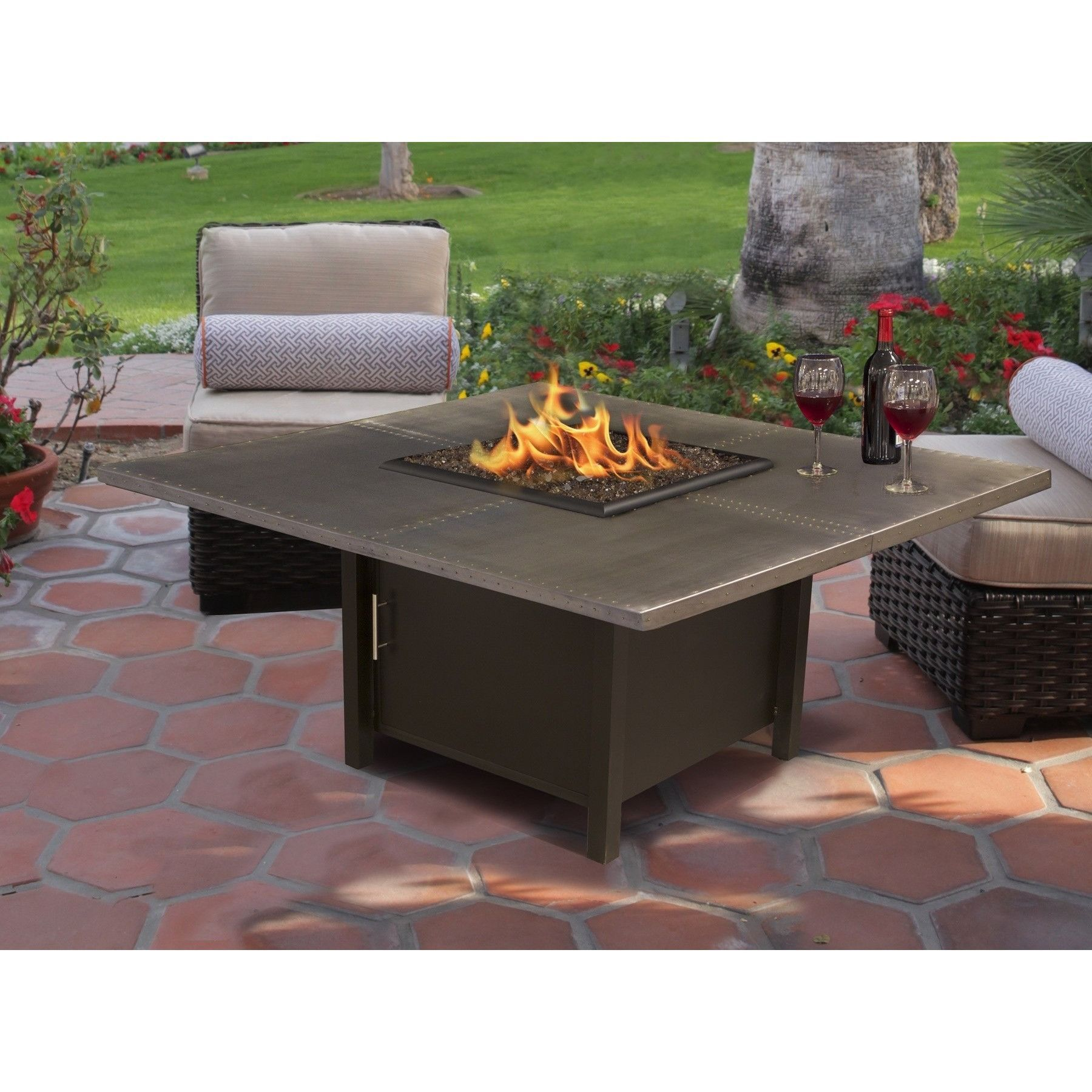 american fire glass carmel square fire pit w 42 48 handcrafted