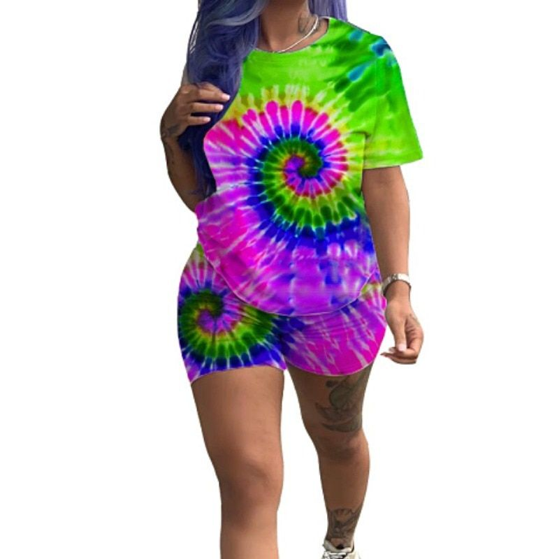Women Tie Dye Tracksuit 2 Piece Outfits Festival Clothing Short Sleeve Top and Biker Shorts Sweat Suits
