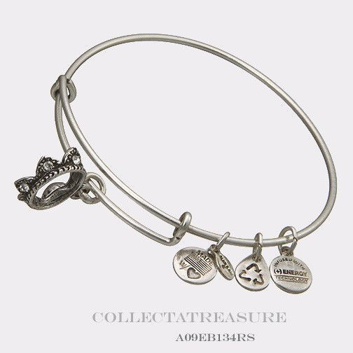 Authentic Alex And Ani Queen Crown Russian Silver Charm Bangle