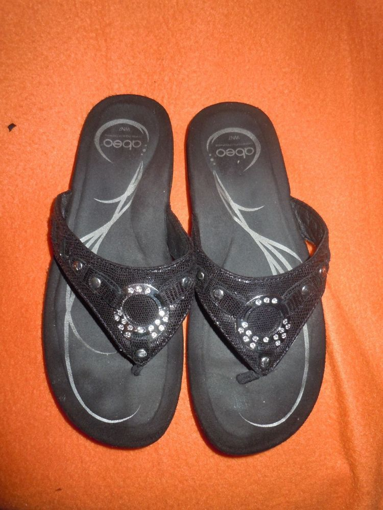 f4b21d929d75 Obeo Women s Sunrise Thong Sandal Size WN7 Black Leather Upper Rubber Sole   fashion  clothing  shoes  accessories  womensshoes  sandals  ad (ebay link)