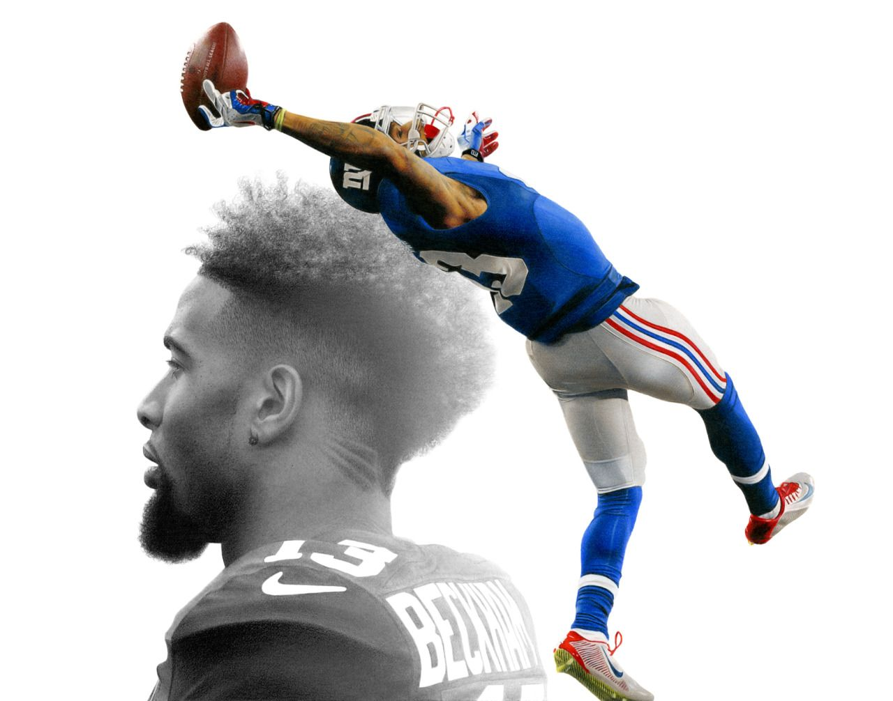 Colored pencil and graphite drawing of Odell Beckham Jr.