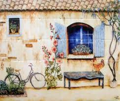 french tile mural