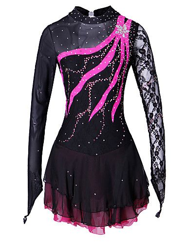 robe de patinage artistique femme fille patinage robes spandex dentelle strass utilisation tenue. Black Bedroom Furniture Sets. Home Design Ideas