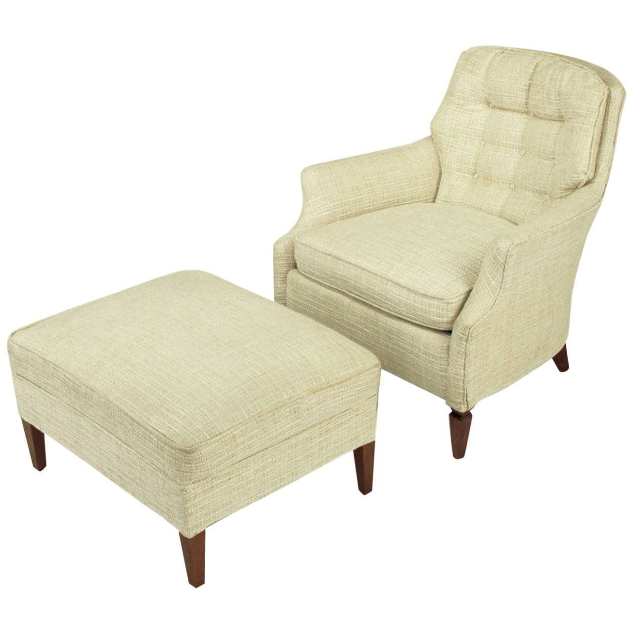Button tufted creamy linen lounge chair and ottoman