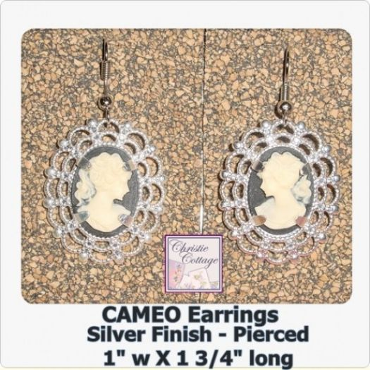#Cameo #Earrings Silver Pierced Dangle Lovely Lady @christiecottage