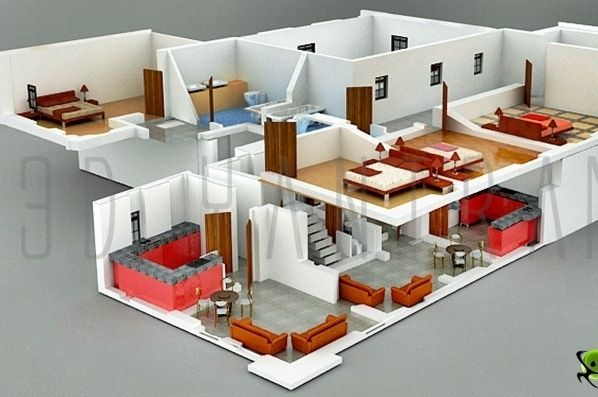 Interior Plan Houses | 3D Section Plan 3D Interior Design 3D