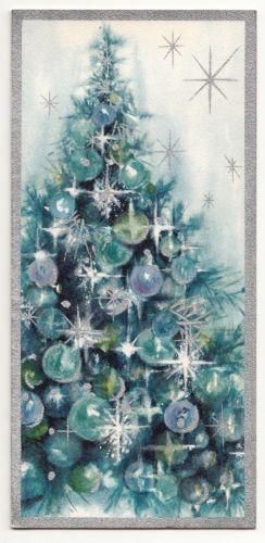 Vintage-Greeting-Card-Christmas-Tree-Blue-Mid-Century-Hallmark-Slim-Jims-a638
